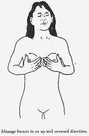 Massage breast in an up and outward direction