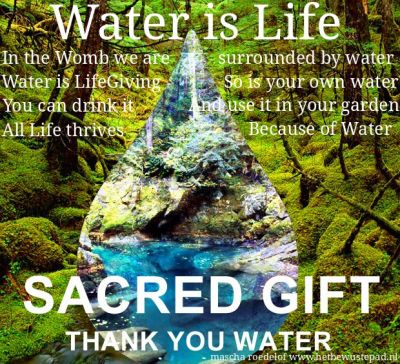 Water is Life In the Womb we are surrounded by Water Water is LifeGiving, So is your own Water You can drink it and use it in your garden All Life thrives because of Water